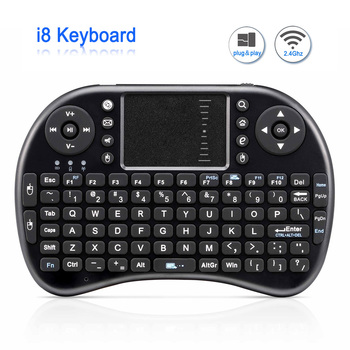 Mini Wireless Keyboard i8 russisk engelsk Version Air Mouse Mini Touchpad QWERTY Tastaturer Lithium batteri Til Android TV BOX
